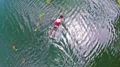 Fisherman of Bangpra Lake in action when fishing, Thailand Stock Footage