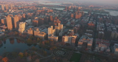 East Harlem and Upper East Side New York Helicopter Aerial Stock Footage