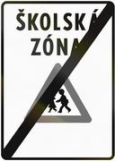 Road sign used in Slovakia - End of school zone. Skolska zona means school zo Stock Illustration