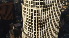 Close flight past 777 Tower, Los Angeles. Shot in 2010. Stock Footage