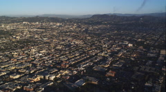 Flying over Los Angeles cityscape toward Hollywood. Shot in 2010. Stock Footage