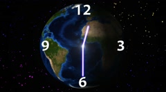 Time passage on rotating Earth background. Stock Footage