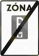 Stock Illustration of Road sign used in Slovakia - End of the paid parking area. Zona means zone