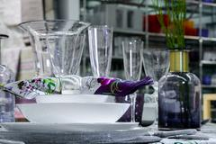 Table serving with decorative tableware Stock Photos