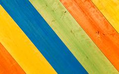 Multicolored Wooden Planks in Diagonal for Background - stock photo