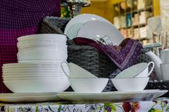 Table serving with decorative tableware - stock photo