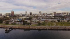 Aerial Long Beach Downtown Stock Footage