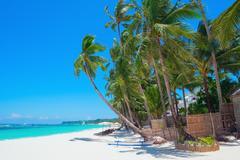 Beautiful tropical white sand beach, Boracay island, Philippines Stock Photos