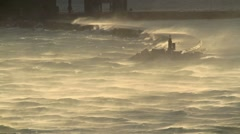 Gale force wind and waves with harbour wall Stock Footage