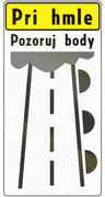 Road sign used in Slovakia - The text means: In case of fog observe markers - stock illustration