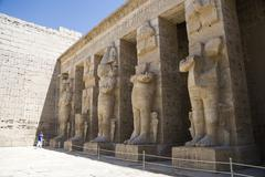 Colonnade of the temple at Medinet Habu in Egypt - stock photo