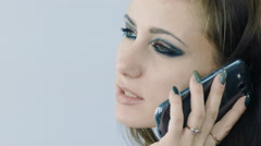 Attractive Young  Model Talking On Mobile Cell Phone, Close up Stock Footage