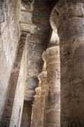 Colonnade of the temple with hieroglyphics color in Egypt - stock photo