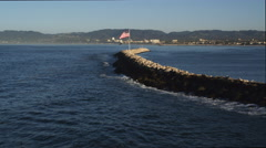 Flag on jetty in Marina del Rey, California. Shot in 2010. Stock Footage