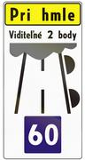 Stock Illustration of Road sign used in Slovakia - The text means: In case of fog with 2 visible ma