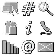 Technology icons set with messenger , communication icons with gray shadow - stock illustration