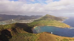 Aerial Oahu Hanauma Bay Marine Life Conservation District Stock Footage