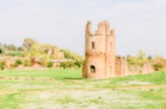 Defocused background with ruins of the Circus of Maxentius, Rome Stock Photos