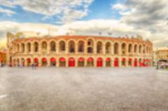Defocused background of the Verona Arena, Italy - stock photo