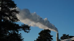 Daylight Steam from chimney stack against sky Stock Footage