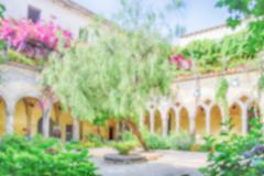 Defocused background, cloister of San Francesco church in Sorrento, Italy - stock photo