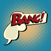 Bang comic book bubble in the shape of a gun Stock Illustration