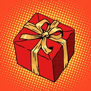 Red gift box - stock illustration