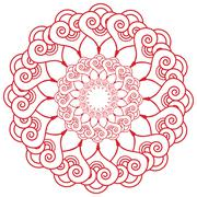 Indian henna tatto inspired flower shape with  hearts elements in red Stock Illustration