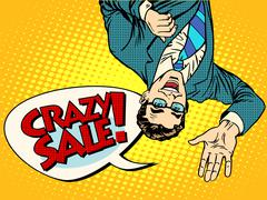 Crazy sale announcement man upside down - stock illustration