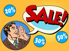 The man announces sale and discounts - stock illustration