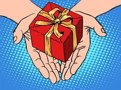 Male hands heart shape gift box Stock Illustration