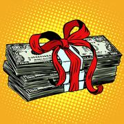 Money as a gift charity and donation - stock illustration
