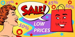 Sales discounts poster style girl and products - stock illustration