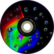 colorful water drops on CD DVD disc - stock photo