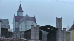 Destruction of the village. Construction of the city 2 Stock Footage