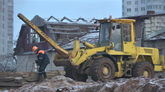 Destruction of the village. Construction of the city 1 Stock Footage