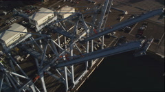Loading cranes at Port of Long Beach, California. Shot in 2010. - stock footage