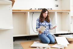 Stock Photo of Frustrated Woman With Self Assembly Furniture In Kitchen