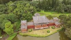 Aerial Oahu .Hawaii.  Buddhist temple. Stock Footage