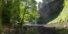 Wide view of Silver Creek at base of South Falls in Silver Falls State Park, Stock Footage
