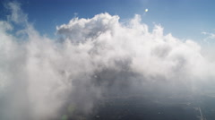Flying through clouds over the San Gabriel Mountains, California. Shot in 2010. Stock Footage
