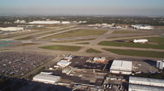 Flying over airport in Long Beach, California. Shot in 2010. Stock Footage