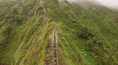 Aerial Oahu Trail Haiku Stairs . Hawaii Stock Footage