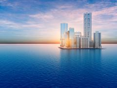 Floating City on Water - stock illustration