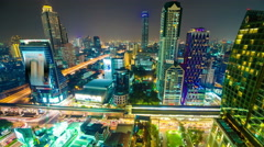 Landscape building modern business district of Bangkok Expressway Stock Footage