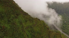 Aerial Oahu Trail Haiku Stairs. Fog Stock Footage