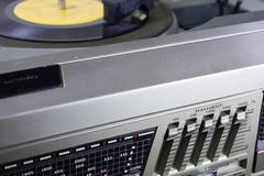 Old retro Grammofon is very close - stock photo