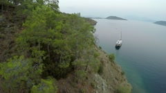 Yacht near coast of Marmaris Stock Footage