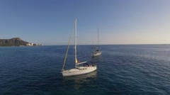Aerial yachts, boat  on the background of Honolulu Stock Footage
