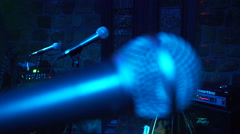 Music stage microphone - microphones Stock Footage